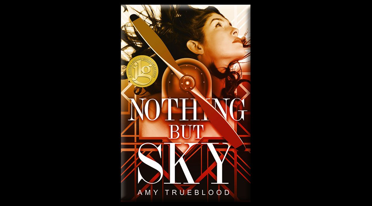 This is the cover for Amy Trueblood's Nothing But Sky. It features a girl in the upper right hand corner, her long dark hair windblown. The center of the image is an airplane propeller.
