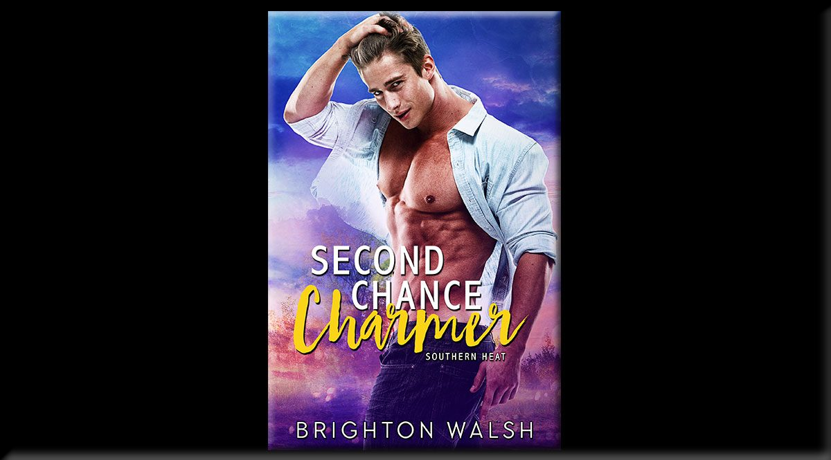 This is the cover of Second Chance Charmer, by author Brighton Walsh. it depicts a man with his shirt unbuttoned and his hand in his hair, against a backdrop of muted blue sky.