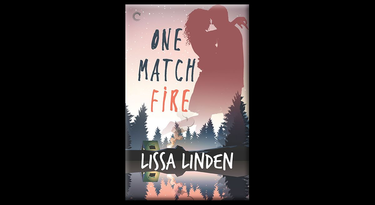 The book cover shows the silhouette of a man and woman about to kiss. Beneath them are fir trees. The book is set against the background of a forest.