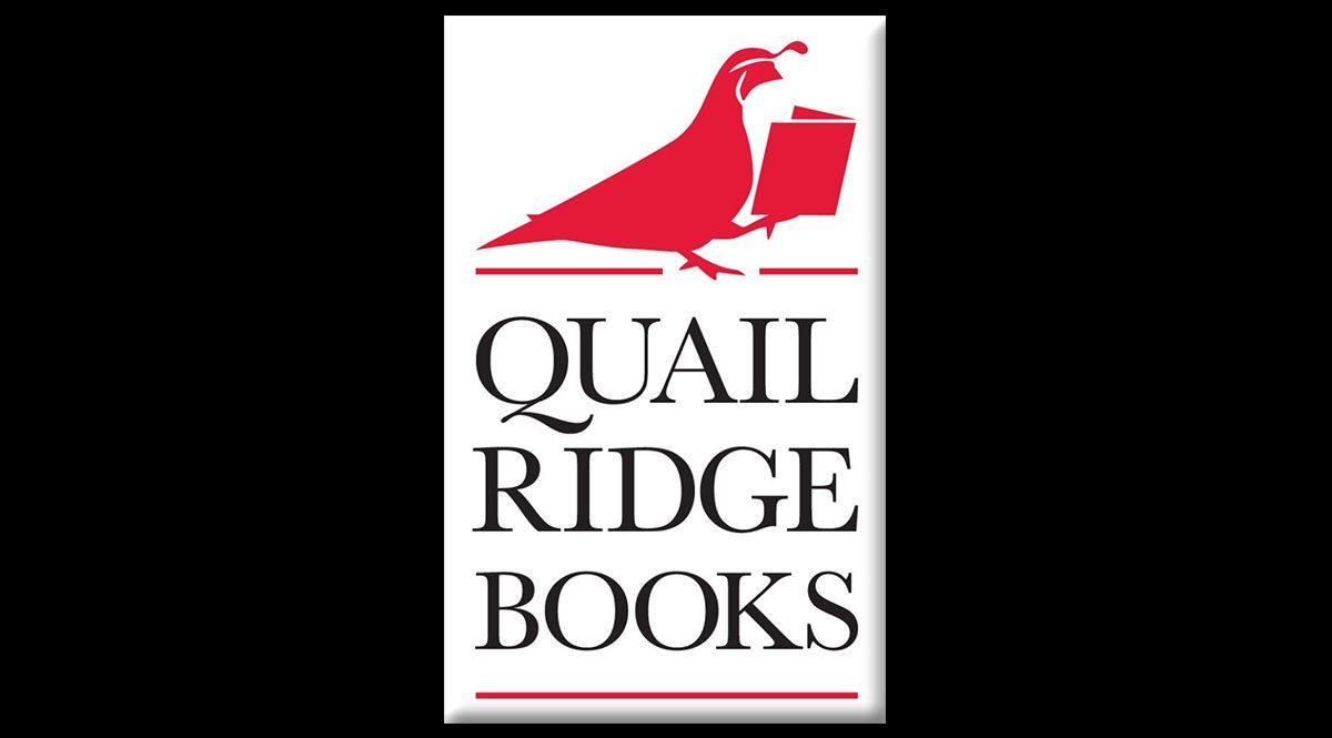 This is the logo of the Raleigh bookstore, Quail Ridge Books. It features a red quail reading the book and reads 'Quail Ridge Books' beneath the bird.