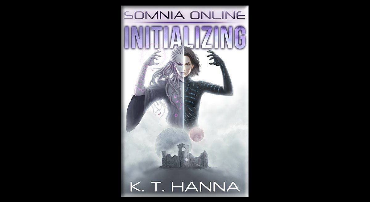 """This banner features K.T. Hanna's book """"Somnia Online: Initializing"""" in both physical and digital copies. The image of the book shows a woman with hair like snakes, arms raised above her head, hovering above what looks like a city. To the right are the words, """"New release--get your copy. 5/5/18. Be the class you were born to play."""""""