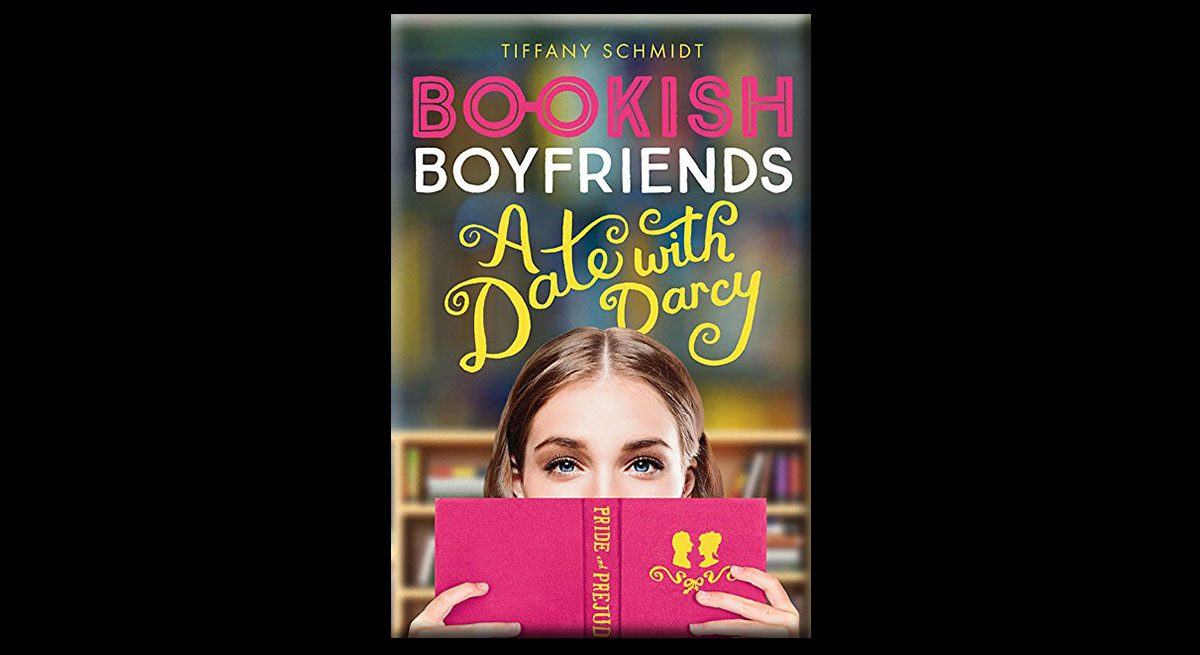 This is the cover of Tiffany Schmidt's book in the Bookish Boyfriends series, A Date with Darcy. It features a young girl with brown hair (parted in the middle) and blue eyes, peeking over a pink copy of Pride and Prejudice. Behind her is a bookshelf.