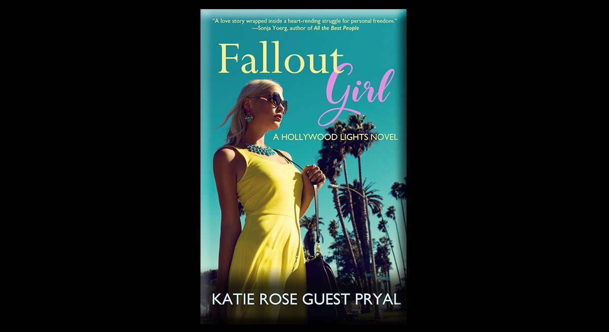 This is an image of Katie Rose Guest Pryal's book, Fallout Girl. The book features a girl wearing a yellow dress, standing in front of palm trees. In the background is a blue sky.