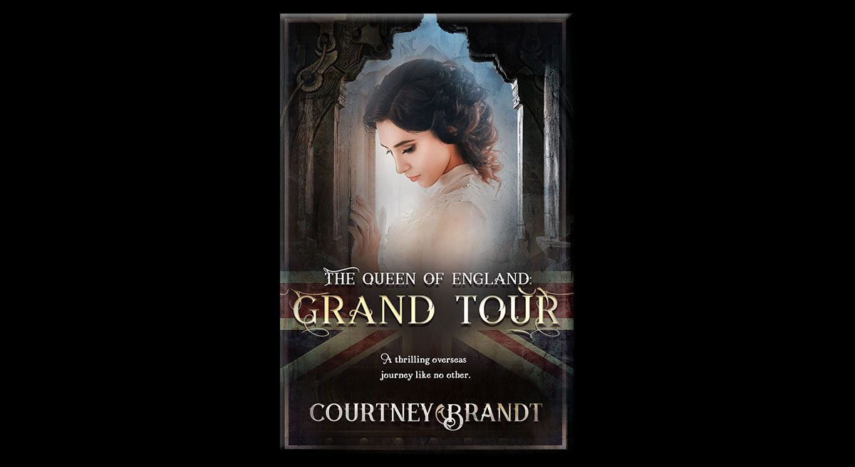This is the cover for Courtney Brandt's book, The Queen of England: Grand Tour. It shows a woman in a white shirt with curly, pinned-back hair, her hand on the wall, looking down demurely.