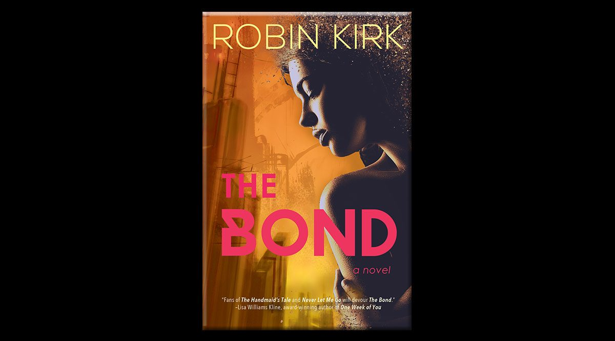 This is the cover of Robin Kirk's book, The Bond. It portrays a young girl looking over her shoulder at an industrial scene.