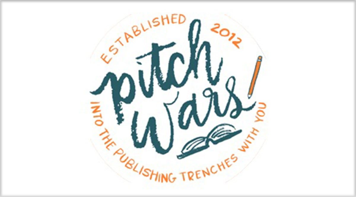 """A logo reading """"Pitch Wars. Established 2012. Into the publishing trenches with you."""" Beneath the words """"Pitch Wars"""" is a pen and to the right is a pencil."""